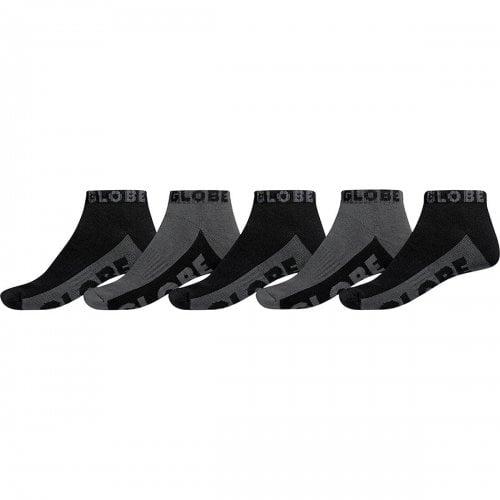 Globe Socks: Black/Grey Ankle Sock 5 PK