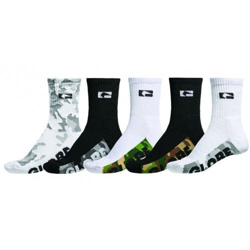 Globe Socks: Malcom Crew Sock 5 PK Camo