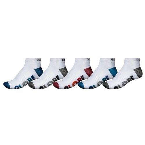 Globe Socks: Multi Stripe Ankle Sock 5 Pack WH