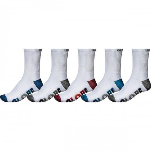 Globe Socks: Multi Stripe Crew Sock 5 Pack WH