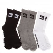 Quiksilver Socks: 3 Pack Crew Ast(pack 3) MC