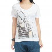 Roxy Girl T-Shirt: Heart Core WH, XS