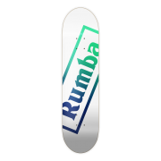 Rumba Skateboarding Deck: R1 Logo White Green Fade 8.5